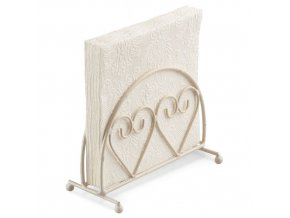 Napkin Holder Standing Two Hearts Cream